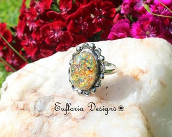 Red Fire Opal Ring, Vintage Opal Ring, Antique Silver Lampwork Ring, Rainbow Glass Opal Statement Ring Gift for Her Womans Ring Promise Ring