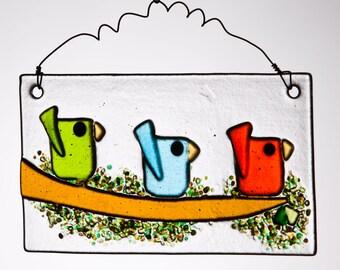 Three Whimsical Little Birds in Fused Glass~Green, Aqua & Orange