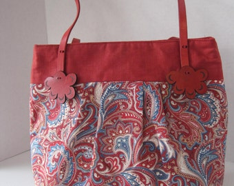 Handbag Purse Fabric Handmade Women's Accessories Red Paisley Leather Straps