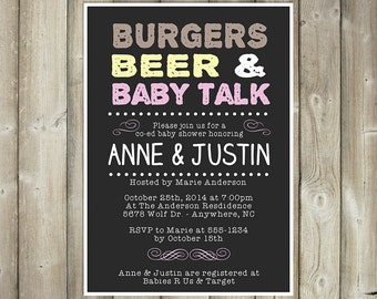 Co-Ed Baby Shower Invitation, Meet and Greet, Meet the Baby Invitation, Burgers Beer and Baby Talk, Burgers Beer and a Baby, Digital File