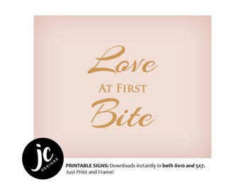 Love at First Bite // Table Wedding Sign // Printable // Pink and Gold Wedding Signs // DIY Instant Download // Blush and Gold
