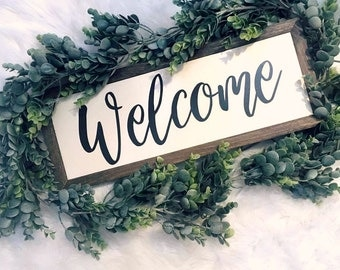 Welcome Sign   Front Porch Sign   Entryway Sign   Welcome Home Sign   Rustic Home Decor   Farmhouse Sign   Framed Wood Signs   Wood Signs