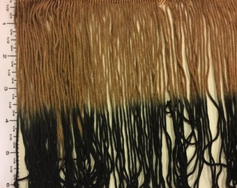 "Ombre Chainette thread Fringe. 6"" tonal color thread fringe.  Dark Taupe Black White shades. 1 yard"