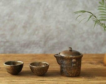 Chinese Pottery Tea Set, Ceramic Travel Tea Set, Free Shipping