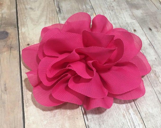 "4"" Fuscia Pink Chiffon Flower | Flower for Dog Collar | Medium/Large Dog | CupcakePups"