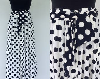 Vintage 80s Betty Barclay Skirt, Polka Dot Skirt, Black White Skirt, Dotty Skirt, Size 14 16