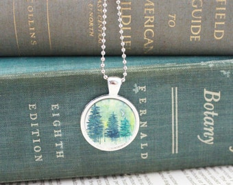 Forest Necklace, Owl Necklace, Forest Pendant, Forest Jewelry, Owl Jewelry,Pacific Northwest, Nature Necklace, Forest Watercolor, Silver