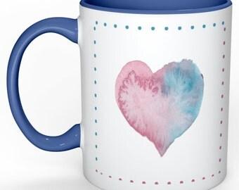 Blue and Pink Watercolor Heart Mug