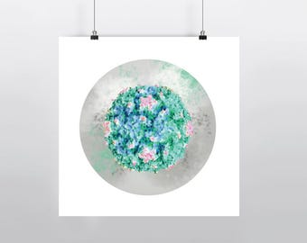Polio Virus Poster, Science Art, Epidemiology Print, 12 x 12 in Molecular Biology Microbiology wall decor gift