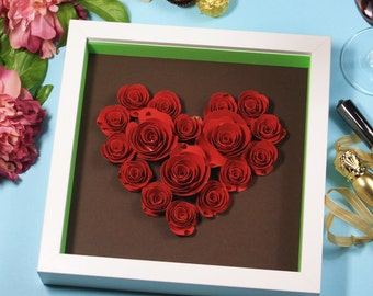 Paper flowers, Heart shaped red roses, 3D shadow box frame, gift idea.
