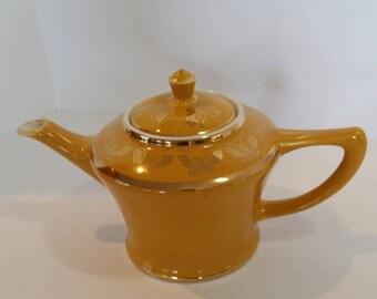 Vintage Hall Teapot, Gold Butterflies, Yellow Teapot, 6 Cup, China Tea Server, Ceramic Beverage Pot