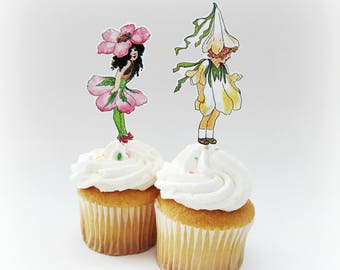 Flower Fairy Cupcake Toppers, Fairy Cupcake Toppers, Vintage Fairy Toppers, Spring Toppers, Flower Cupcake Toppers, 12 Ct.