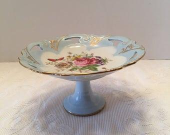 Norcrest Dish ~ Pedestal Dish ~Footed ~ Mid Kissigan #1975 ~ Gold Trim ~ Cake Plate ~ Vintage