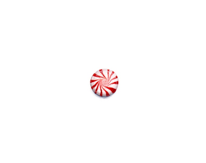 """Print of miniature painting of a Peppermint Candy. 1 1/4"""" x 1 1/4"""" print of original Mint painting on 5"""" square german etching paper"""