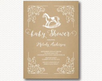 Rocking Horse Baby Shower Invitation, Vintage, Rocking Horse Shower, Cute, Unique, Girls, Boys, Kraft, Neutral, Printable Invitations,