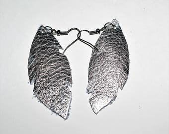 Leather Feather Earrings, Metallic Silver earrings, Gifts for mom