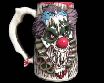 Evil Clown Beer mug with Blood Spatter, Halloween mug, Hand-painted mug