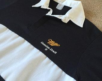 Vintage Miller Genuine Draft Rugby/Polo Shirt--Miller Logo On Front And Back Of Shirt
