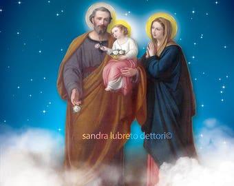 "Holy Family with stars, Catholic art, religious art, print, 8x10"" religious print, wall art,a perfect religious gift idea."