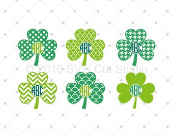 Shamrock Monogram Frames SVG, St. Patrick's Day SVG, Saint Patrick Day SVG, Clover svg cut files for Cricut and Silhouette, svg files