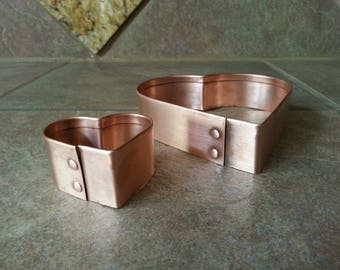 """Beautiful Copper Heart Shaped Cookie Cutters, Copper Rivits, Too Pretty for the Drawer, Measure 5"""" and 2"""" Gorgeous  Antique Satin Finish"""