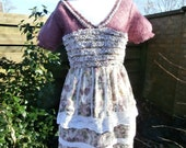 Upcycled Sweater Dress Amaryllis UK size 10  12  US size 6  8  Flower Purple Yellow Mohair V Neck Short Sleeve Lace Smock Tea Dress