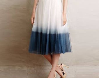 Tea LengthTwo color Soft Tulle Skirt