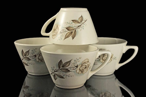 Mount Clemens Cups, Brown Rose, Hard to Find Pattern, Floral Pattern, Set of 4, Tea Cups, Coffee Cups