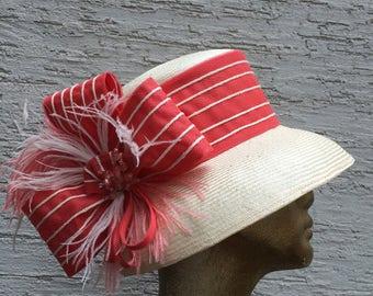 Derby hat, Ivory coral hat, widebrim hat, Summer sun hat, Kentucky derby hat, Wedding Party hat, Royal Ascot hat, Audrey Hepburn hat, cream
