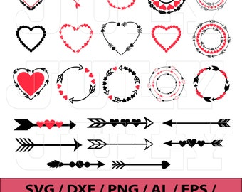Heart SVG, Valentines Day Circle Monogram Frames, Heart Clipart, Valentine Heart svg Files, svg, dxf, eps, png, Heart Frames SVG