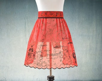 1950s Chiffon Apron Flirty Vintage French Red and Black Paris