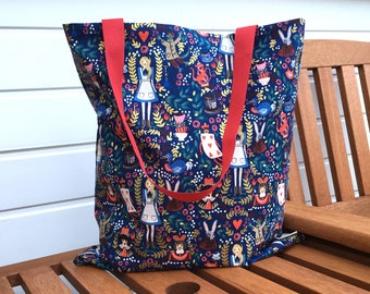 Alice in Wonderland Tote Bag, Metallic Alice Shopping Bag, Navy Cotton Bag, Ethical Shopper, Summer Accessories
