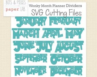SVG Cutting File: Planner Month Dashboard Dividers SVG, Planner SVG, Month Tab svg