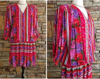 80s drop waist red, purple, and white striped and floral dress - plus