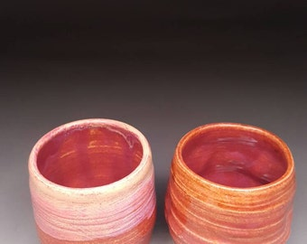 Tea for two, orange, pink, raspberry, tea bowls, couples tea bowls
