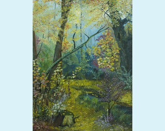 Morning in Autumn Forest, Landscape oil painting on canvas, Original Oil Painting artwork