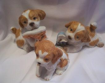 Three Cute Spaniel Puppy Figurines, Homco