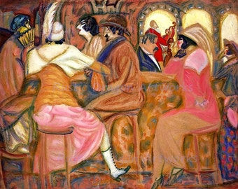 "Boris Grigoriev ""In a Paris Cafe"" 1914 Reproduction Digital Print Wall Hanging Paris France in the 1900's Friends Gathering Together"