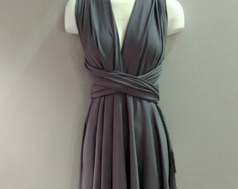 SALE : Steel Grey Convertible Dress / built in bandeau / size large