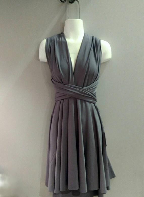 SALE : Steel Grey Convertible Dress / built in bandeau / size large