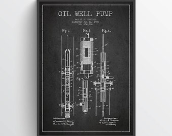 1900 Oil Well Pump Patent Wall Art Poster, Oil Drilling Poster, Texas Art, Home Decor, Gift Idea, PFEN09P