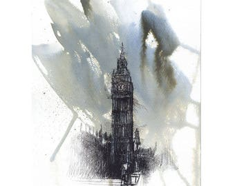 Original ink & wax sketch of a Big Ben in London on watercolour paper.