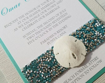 BOXED SAND DOLLAR- Natural sand dollar beach theme wedding invitation set- Jeweled Aqua Blue Sand Dollar beach wedding invitation