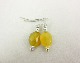 Yellow Chalcedony Earrings - Dangle Earrings - Handmade Earrings - Silver Earrings - Chalcedony Jewelry - Gift for Her - Modern Jewelry