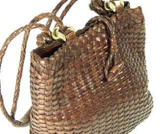 Vintage, Talbots Woven Bag with Gold Hardware. Brown Leather!