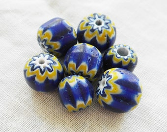 Ten large blue, green and white chevron glass beads, 9 x 10mm  C0501