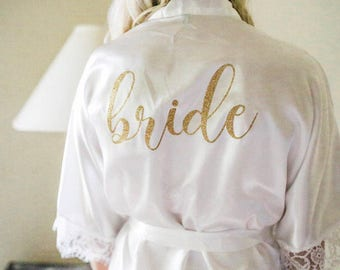 Lace bride Robe. Bride gift. Lace Bridal party robes. Bridesmaid gift. Bridal party gifts.Wedding robe. Bridal shower gift. Bridesmaid robe.