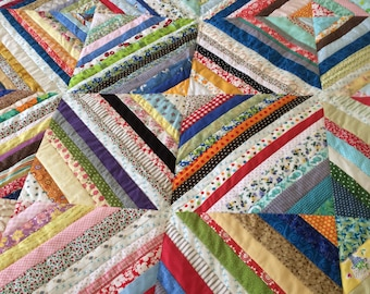 Sunshine String Quilt 2//59in square quilt//picnic quilt//porch quilt//throw quilt//lap quilt//rainbow colors//