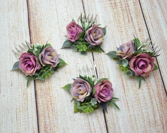 Set of flower combs Dusty purple hair comb Bridal headpiece Wedding hair comb Bridal hair piece Purple flowers hair Floral hair comb set