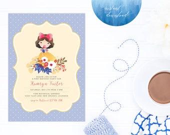Printable Snow White Invitation | Instant Download Snow White Party | Princess Printable